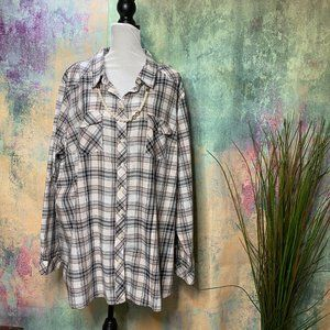 📌torrid Checkered Blouse Shirt  w/ Roll up Sleeve